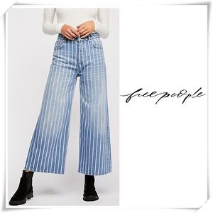 Free People Earn Your Stripes High Rise Wide Jeans